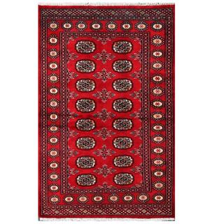 Herat Oriental Pakistani Hand-knotted Tribal Bokhara Red/ Black Wool Rug (3'2 x 4'9)