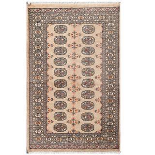 Herat Oriental Pakistani Hand-knotted Tribal Bokhara Beige/ Black Wool Rug (3'2 x 5')