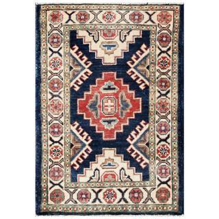 Herat Oriental Afghan Hand-knotted Kazak Navy/ Ivory Wool Rug (2' x 2'10)