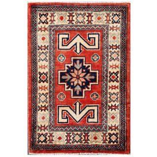 Herat Oriental Afghan Hand-knotted Kazak Red/ Ivory Wool Rug (2' x 2'11)