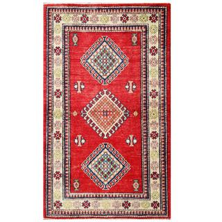 Herat Oriental Afghan Hand-knotted Kazak Red/ Ivory Wool Runner (2'10 x 4'10)