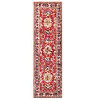 Herat Oriental Afghan Hand-knotted Kazak Red/ Ivory Wool Runner (2'10 x 10')