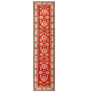 Herat Oriental Afghan Hand-knotted Kazak Red/ Ivory Wool Runner (2'9 x 12'2)