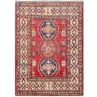 Herat Oriental Afghan Hand-knotted Kazak Red/ Ivory Wool Rug (2' x 2'9)