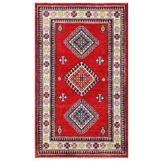 Herat Oriental Afghan Hand-knotted Kazak Red/ Ivory Wool Rug (3' x 4'11)