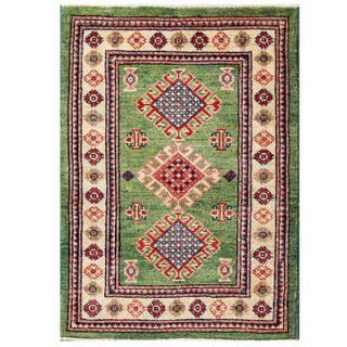 Herat Oriental Afghan Hand-knotted Kazak Green/ Ivory Wool Rug (2'1 x 2'11)