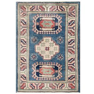Herat Oriental Afghan Hand-knotted Kazak Blue/ Ivory Wool Rug (2' x 2'9)