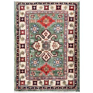 Herat Oriental Afghan Hand-knotted Kazak Green/ Ivory Wool Rug (2' x 2'10)