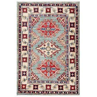 Herat Oriental Afghan Hand-knotted Kazak Aqua/ Ivory Wool Runner (1'11 x 2'10)