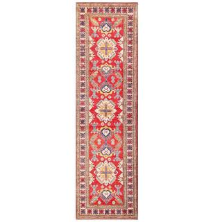Herat Oriental Afghan Hand-knotted Kazak Red/ Ivory Wool Runner (2'9 x 9'10)