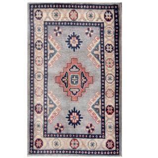Herat Oriental Afghan Hand-knotted Kazak Light Blue/ Ivory Wool Rug (1'11 x 3')