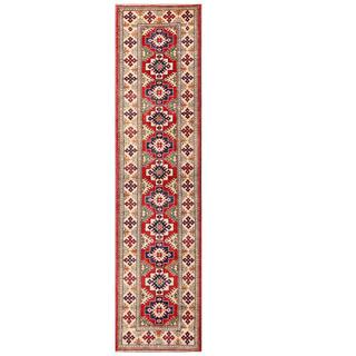 Herat Oriental Afghan Hand-knotted Kazak Red/ Ivory Wool Runner (2'7 x 10'6)