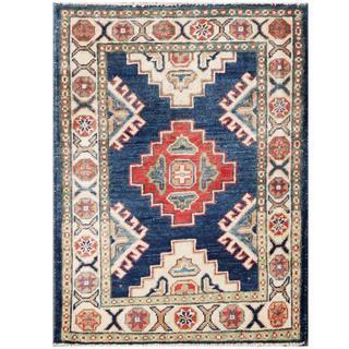 Herat Oriental Afghan Hand-knotted Kazak Navy/ Ivory Wool Runner (2'1 x 2'9)