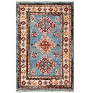 Herat Oriental Afghan Hand-knotted Kazak Blue/ Ivory Wool Rug (2' x 3'1)