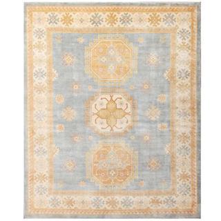 Herat Oriental Afghan Hand-knotted Kazak Blue/ Beige Wool Rug (8'2 x 10')