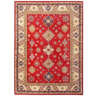 Herat Oriental Afghan Hand-knotted Kazak Red/ Ivory Wool Rug (9' x 12'2)