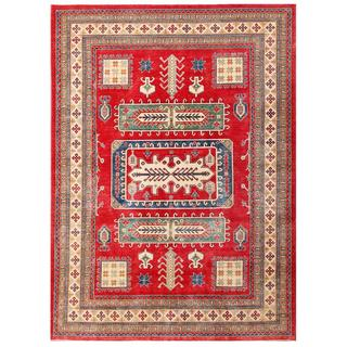Hand-knotted Afghan Kazak Red/ Ivory Wool Rug (9'1 x 12'6)