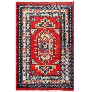 Herat Oriental Afghan Hand-knotted Kazak Red/ Ivory Wool Rug (1'11 x 3')