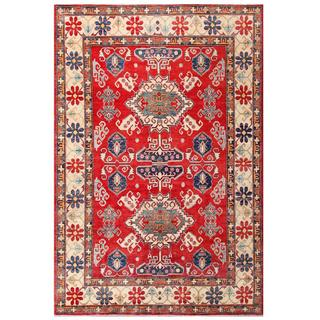 Hand-knotted Afghan Kazak Red/ Ivory Wool Rug (7'2 x 10'7)