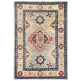Herat Oriental Afghan Hand-knotted Kazak Light Blue/ Ivory Wool Runner (2' x 2'10)