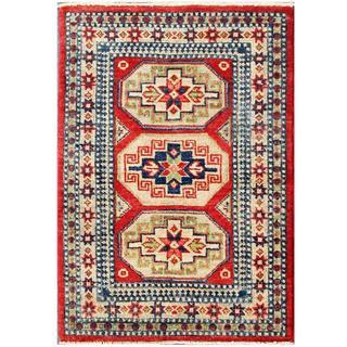 Herat Oriental Afghan Hand-knotted Kazak Red/ Ivory Wool Rug (2' x 2'10)