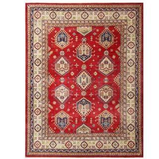Hand-knotted Aqua Kazak Red/ Ivory Wool Rug (7'10 x 10'3)