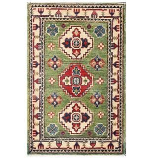 Herat Oriental Afghan Hand-knotted Kazak Green/ Ivory Wool Rug (2' x 3'1)
