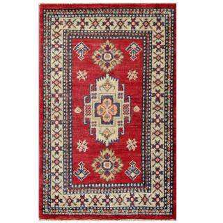 Herat Oriental Afghan Hand-knotted Kazak Red/ Ivory Wool Rug (1'11 x 3'1)