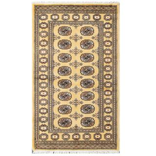 Herat Oriental Pakistani Hand-knotted Tribal Bokhara Beige/ Black Wool Rug (3'1 x 5'4)