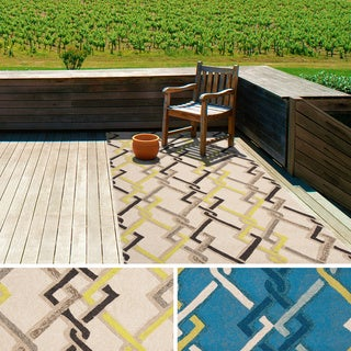 Hand-hooked Angelina Contemporary Geometric Indoor/ Outdoor Area Rug (9' x 12')
