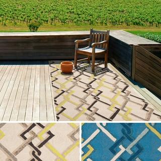 Hand-hooked Angelina Contemporary Geometric Indoor/ Outdoor Area Rug (9' x 12')