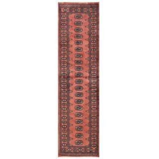 Herat Oriental Pakistani Hand-knotted Tribal Bokhara Rust/ Black Wool Rug (2'7 x 9'4)