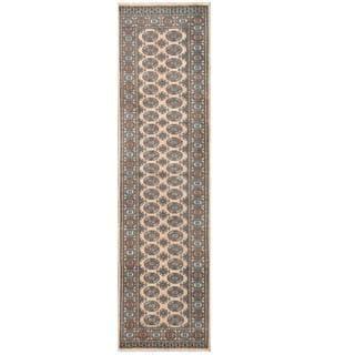 Herat Oriental Pakistani Hand-knotted Tribal Bokhara Beige/ Black Wool Rug (2'6 x 9'5)