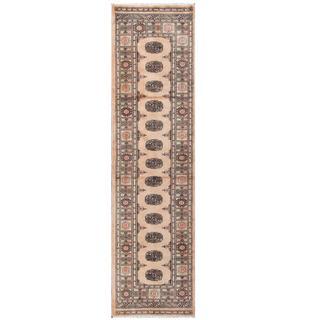 Herat Oriental Pakistani Hand-knotted Tribal Bokhara Beige/ Black Wool Rug (2'5 x 9'4)