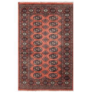 Herat Oriental Pakistani Hand-knotted Tribal Bokhara Rust/ Black Wool Rug (3'1 x 4'10)