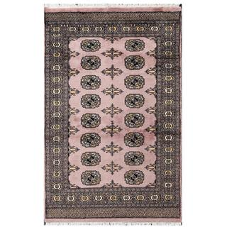 Herat Oriental Pakistani Hand-knotted Tribal Bokhara Purple/ Black Wool Rug (3' x 4'10)