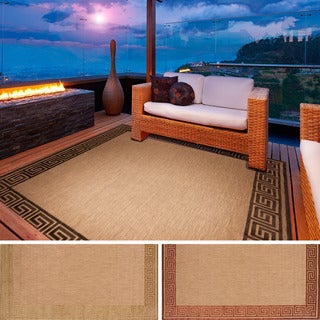Meticulously Woven Megan Transitional Bordered Indoor/ Outdoor Area Rug (7'6 x 7'6)
