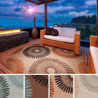 Hand-hooked Gretchen Contemporary Geometric Indoor/ Outdoor Area Rug (8' Round)