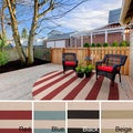 Hand-hooked Mandy Striped Casual Indoor/ Outdoor Area Rug (8' Round)