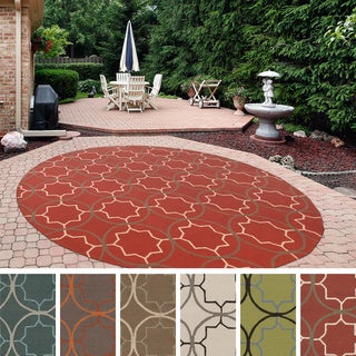 Hand-hooked Dolly Contemporary Geometric Indoor/ Outdoor Area Rug (8' Round)
