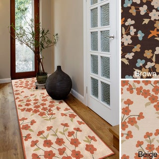 Hand-hooked Alicia Casual Floral Indoor/ Outdoor Area Rug (2'6 x 8')