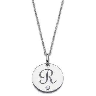Sterling Silver Cubic Zirconia Engraved Initial Disc Necklace
