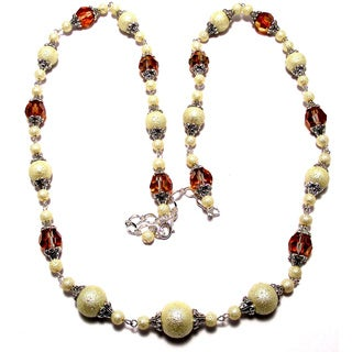 Coppertone/ Goldtone Crystal and White Moonscape Pearl 4-piece Jewelry Set