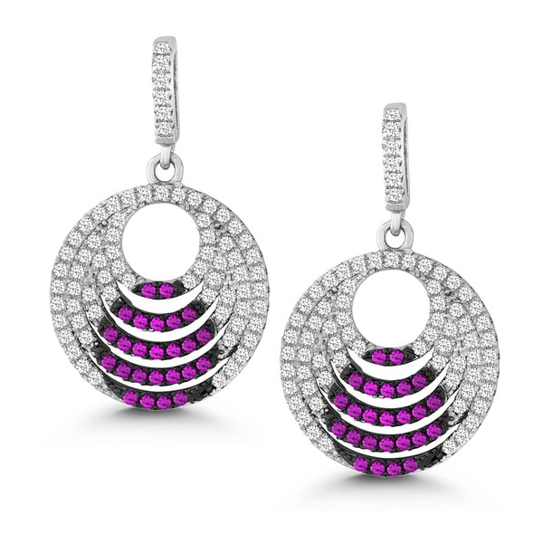 La Preciosa Sterling Silver White and Pink Micro Pave Cubic Zirconia Circle Earrings