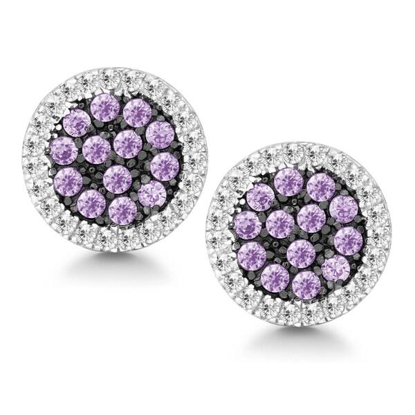 La Preciosa Sterling Silver White and Purple Cubic Zirconia Circle Stud Earrings