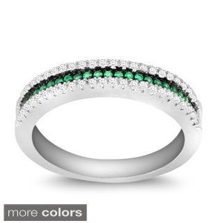 La Preciosa Sterling Silver Micro Pave Cubic Zirconia Band Ring