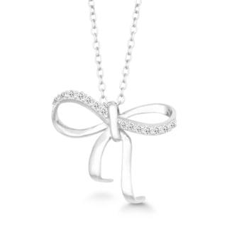 La Preciosa Sterling Silver Cubic Zirconia Twisted Bow Necklace