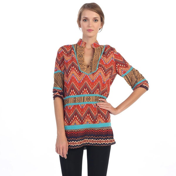 Hadari Orange and Brown Tribal Tunic