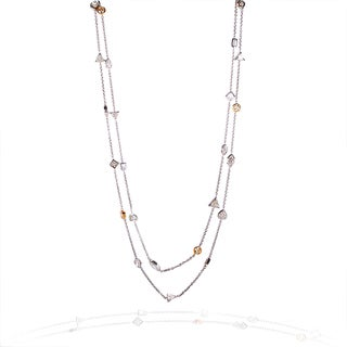 Annello 14k Gold 10 1/6ct TDW Mixed Fancy Cut Diamond By The Yard Necklace (G-H, VS1-VS2)