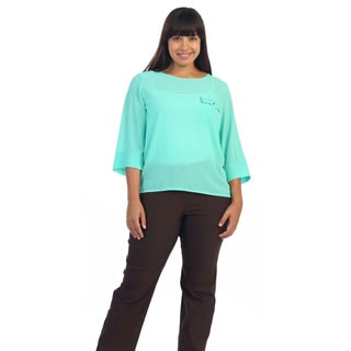 Hadari Women's Plus Sheer 3/4-sleeve Mint Blouse